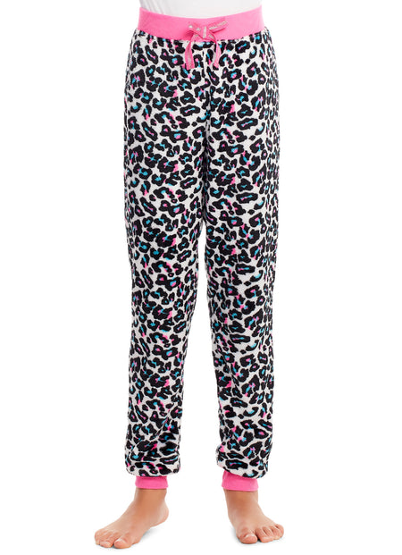 Girls Plush Pajama Bottoms | Fleece Unicorn Print Jogger Sleep Pants