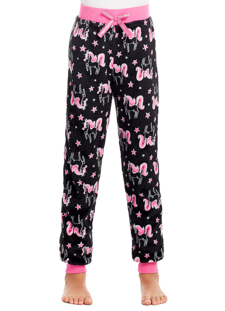 Girls Plush Pajama Bottoms | Fleece Bear Print Jogger Sleep Pants