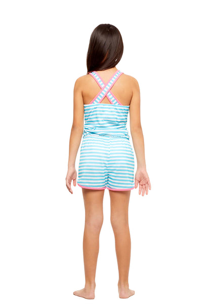 Girls Knit Pajamas Romper, by Jellifish Kids Aqua Dog
