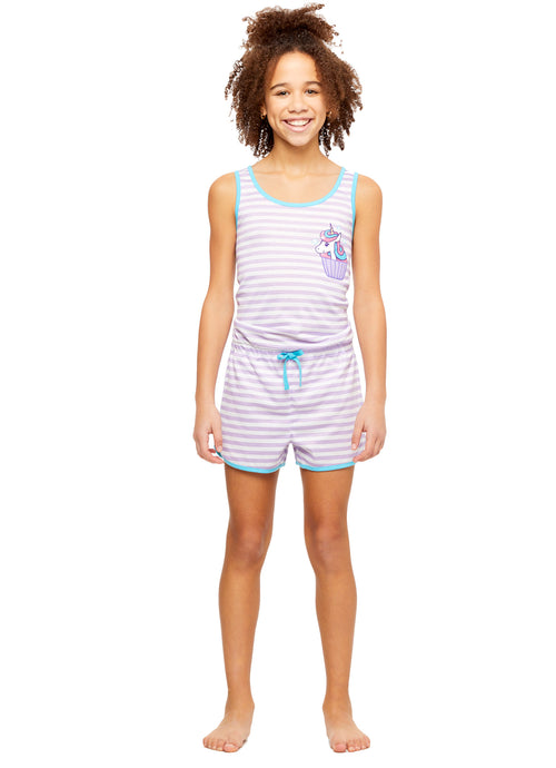 Girls Knit Pajamas Romper, by Jellifish Kids (L (10/12), Unicorn)