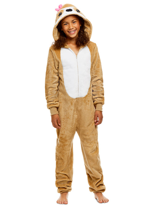 Girls Sloth Pajamas | Plush Zippered Kids Animal Onesie Blanket Sleeper