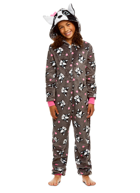 Girls Dog Pajamas | Plush Zippered Kids Onesie Blanket Sleeper