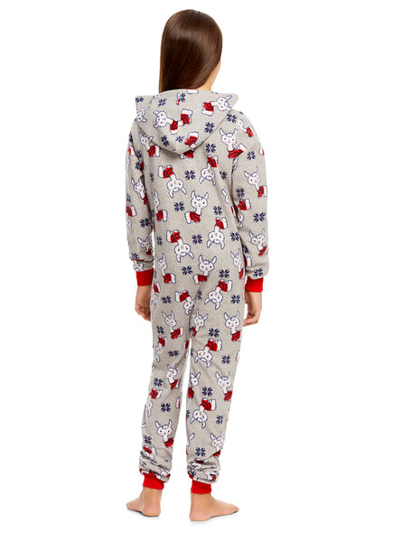 Girls Llama Print Pajamas | Plush Zippered Kids Onesie Blanket Sleeper