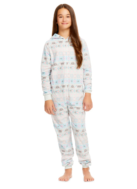 Girls 2-Piece Knit Pajamas Short Set | Flannel Fleece Applique with Foil Print