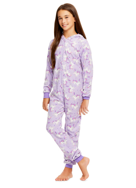 Girls Unicorn Print Pajamas | Plush Zippered Kids Onesie Blanket Sleeper