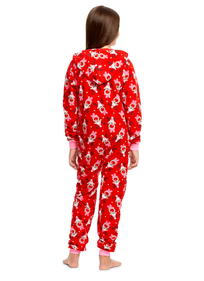 Girls Reindeer Print Pajamas | Plush Zippered Kids Onesie Blanket Sleeper