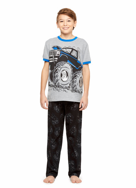Monster Truck Boys Knit 3-Piece Pajamas Sleep Pant & Shorts Set