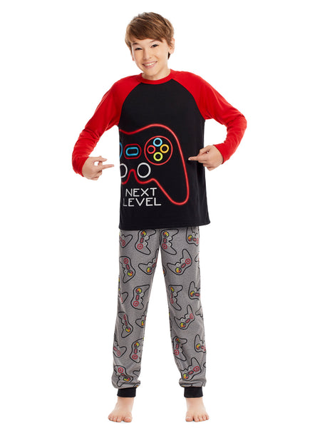 Boys 3 Piece Pajama Set | Long Sleeve Gaming Puff Print Sleep Tee, Jogger Pants & Shorts - L