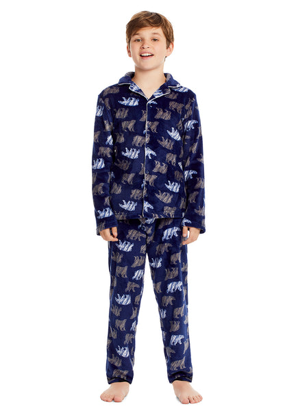 Boys 2 Piece Pajama Set | Long-Sleeve Button-Down Bear Top & PJ Pants