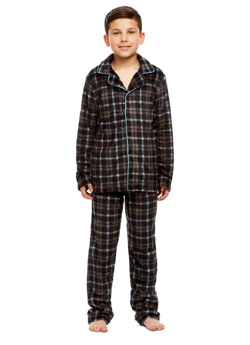 Boys Plaid 2 Piece Pajama Set | Long-Sleeve Button-Down Top & PJ Pants
