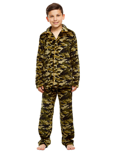 Boys 2 Piece Pajama Set | Long Sleeve Bear Print Top & Fleece Pants