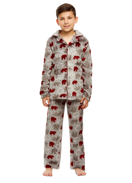 Boys Moose Plaid Pajamas | Plush Zippered Kids Onesie Blanket Sleeper