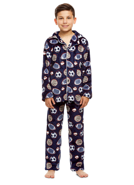 Girls Plush Sleep Robe & Slippers Set | Foil Hearts Fleece Bathrobe