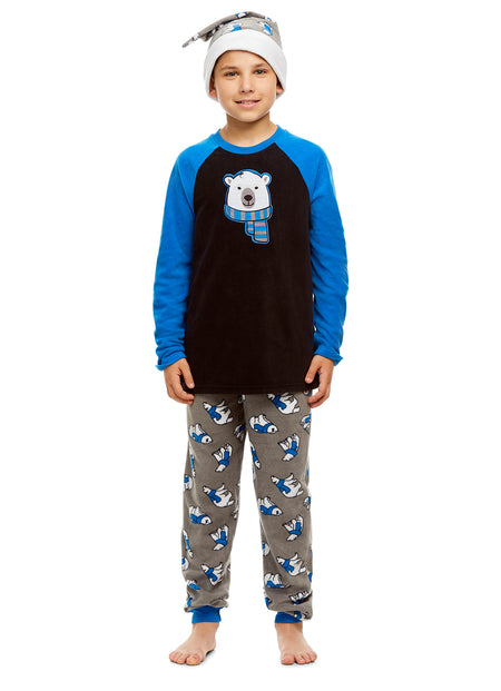 Boys 2 Piece Pajama Set | Long Sleeve Shark Print Top & Jogger PJ Pants
