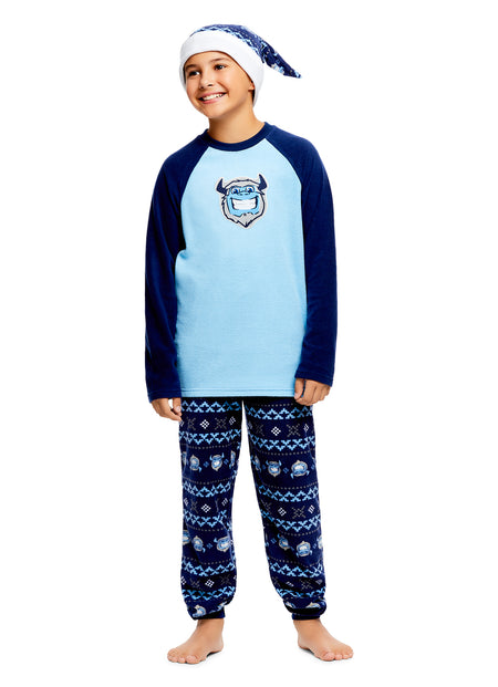 Boys 2 Piece Pajama Set | Blue Shark Sublimation Print Sleep Top, Shark Pants