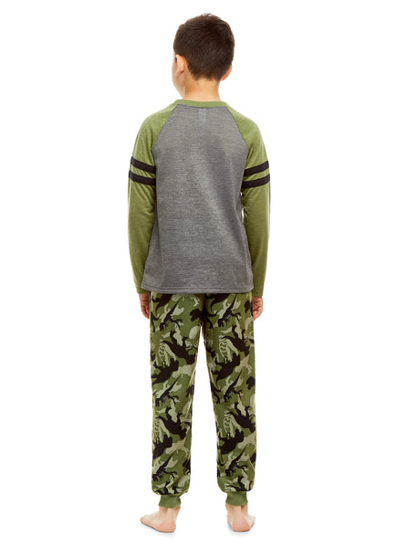 Boys 2 Piece Pajama Set | Long Sleeve Dino Print Top & Jogger PJ Pants