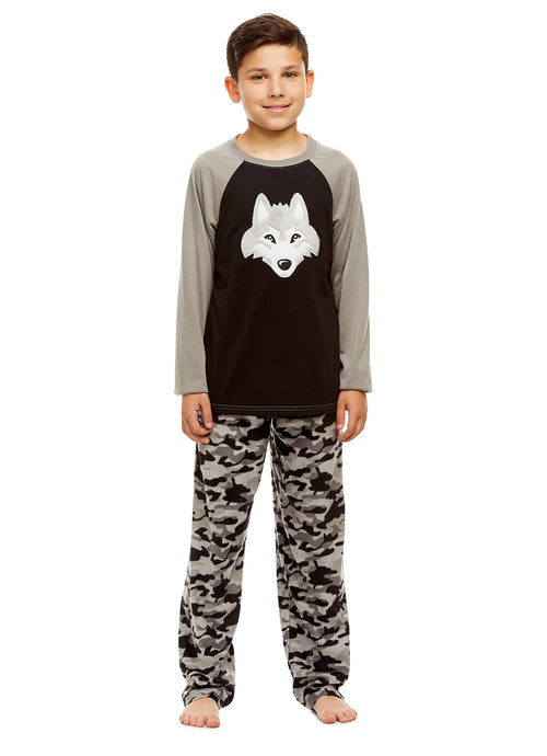 Boys 2 Piece Pajama Set | Long Sleeve Wolf Print Top & Fleece Pants