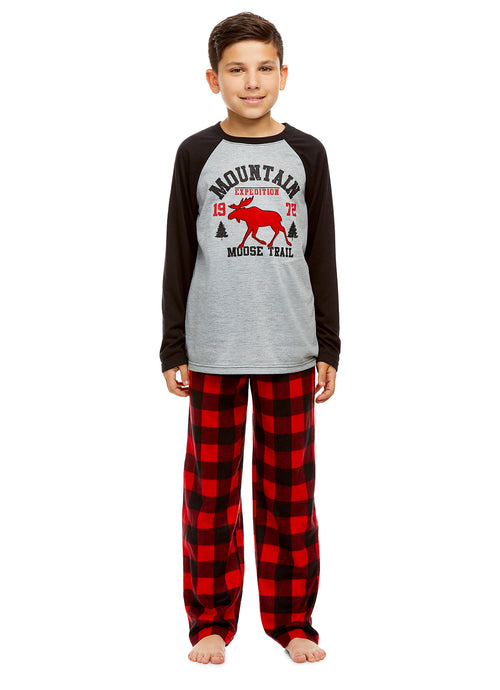 Boys 2 Piece Pajama Set | Long Sleeve Moose Print Top & Fleece Pants