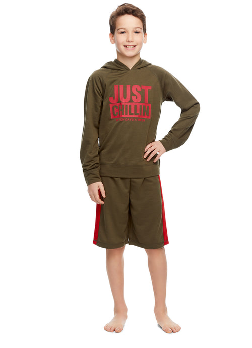 Boys 2-Piece Pajamas Sleep Shorts & Top | Long-Sleeve Hoodie