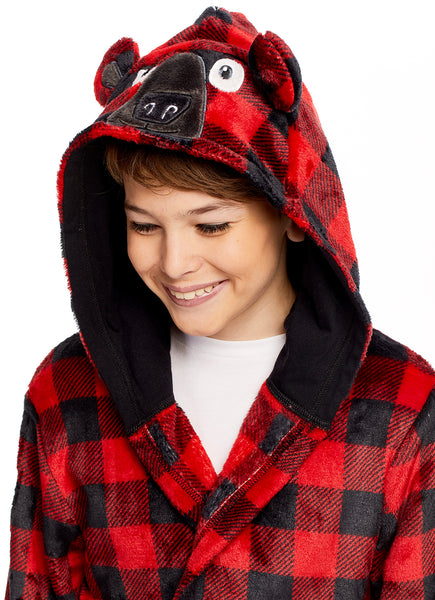 Boys 3D Character Fleece Sleep Robe | Bear Soft & Cozy Kids Bathrobe