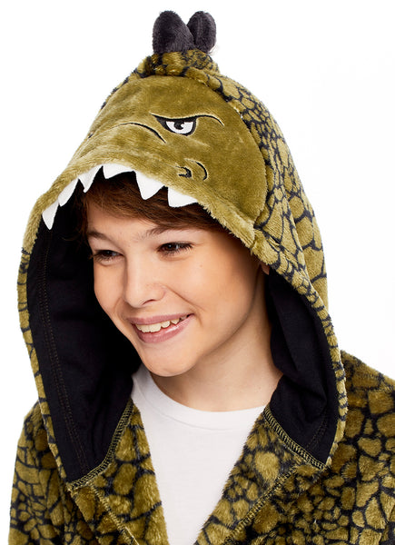 Boys 3D Character Fleece Sleep Robe | Dino Soft & Cozy Kids Bathrobe