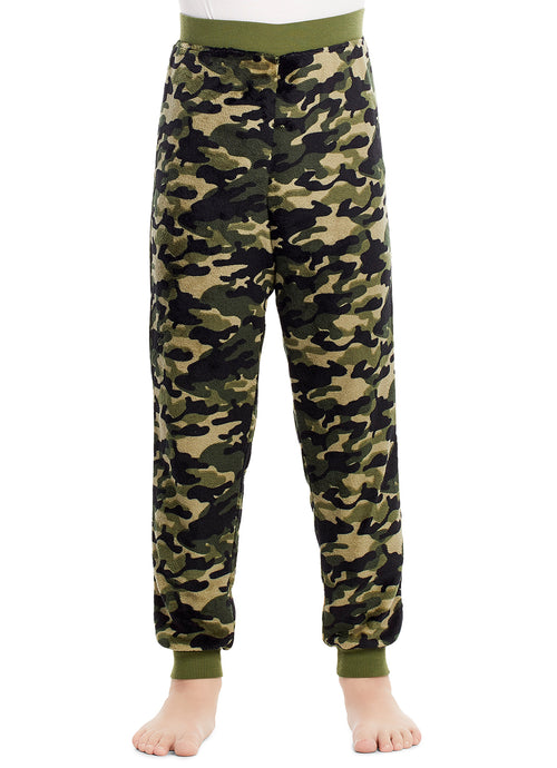 Boys Pajama Bottoms | Cozy Flannel Fleece Camo Jogger Style PJ Pants - L