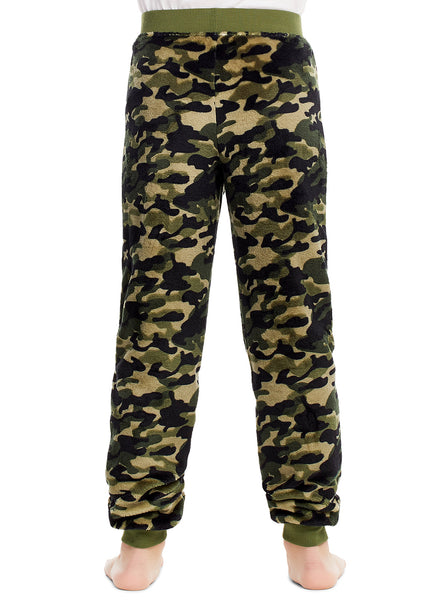 Boys Pajama Bottoms | Cozy Flannel Fleece Camo Jogger Style PJ Pants