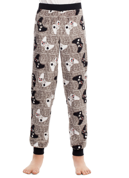 Boys Pajama Bottoms | Cozy Flannel Fleece Gaming Jogger Style PJ Pants - L