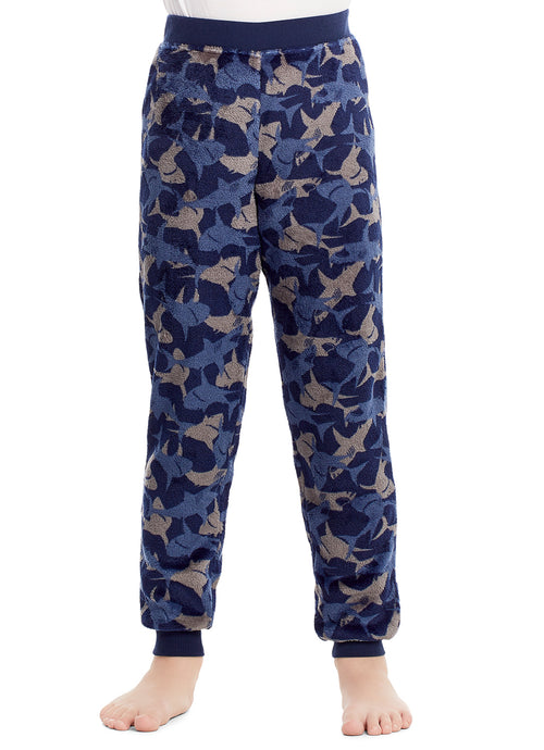 Boys Pajama Bottoms | Cozy Flannel Fleece Shark Jogger Style PJ Pants - L
