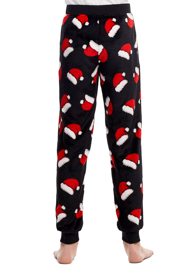Boys Pajama Bottoms | Cozy Flannel Fleece Christmas Hat Jogger Style PJ Pants