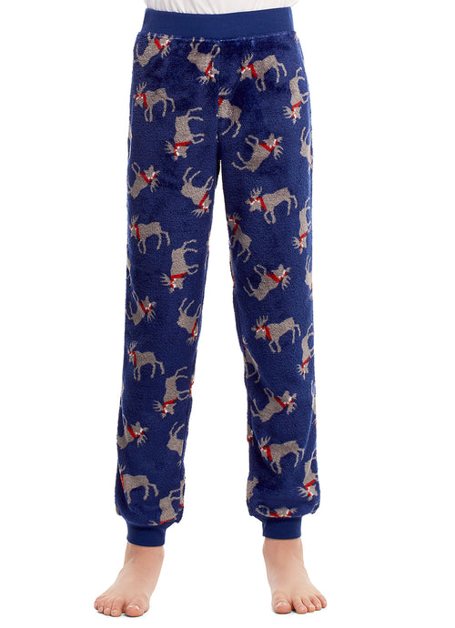 Boys Pajama Bottoms | Cozy Flannel Fleece Moose Jogger Style PJ Pants - L
