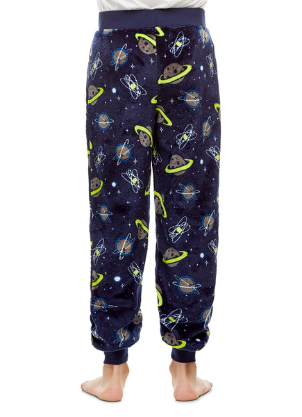 Boys Pajama Bottoms | Cozy Flannel Fleece Space Jogger Style PJ Pants