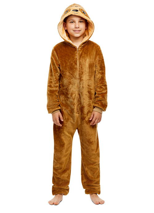 Boys Sloth Pajamas | Plush Zippered Kids Animal Onesie Blanket Sleeper