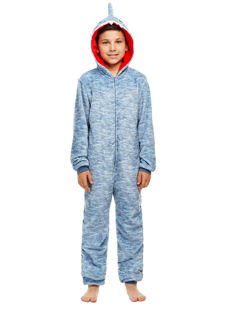 Boys Yeti Pajamas | Plush Zippered Kids Animal Onesie Blanket Sleeper
