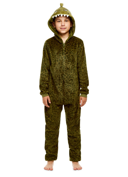 Boys Monster Pajamas | Plush Zippered Kids Animal Onesie Blanket Sleeper