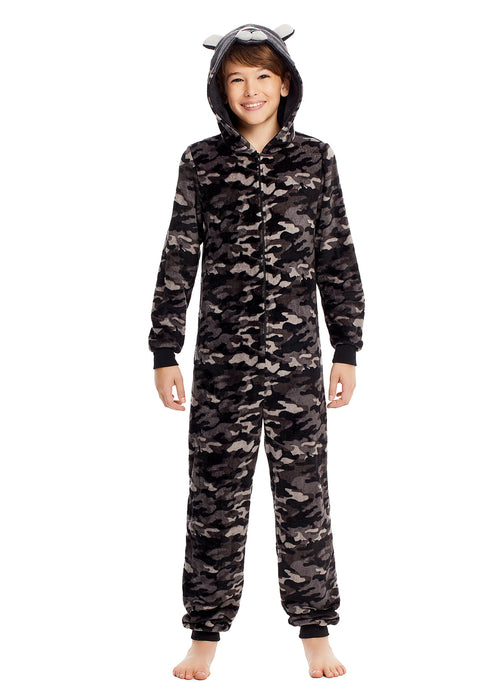 Boys & Toddlers Pajamas | Plush Zippered Kids Onesie With 3D Bear Hood