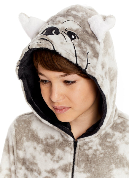 Boys & Toddlers Pajamas | Plush Zippered Kids Onesie With 3D Bulldog Hood