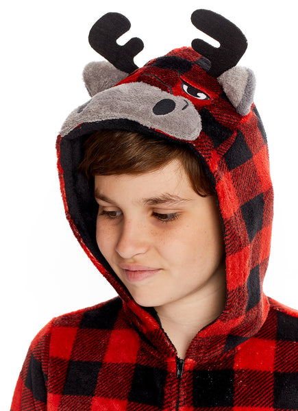 Boys & Toddler Pajamas | Plush Zippered Moose Kids Onesie Blanket Sleeper - 2T