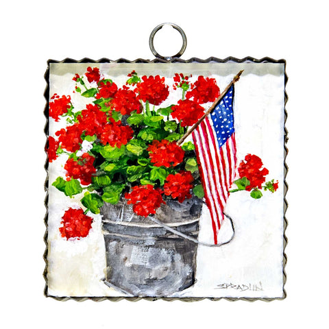 Bucket of Geraniums Mini Print