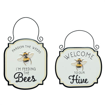 Metal Embossed Bee signs