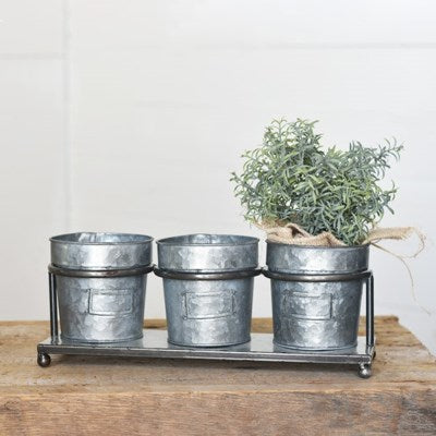 Triple Vintage Tin Planter