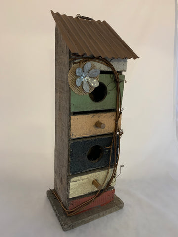 Metal Flower Birdhouse