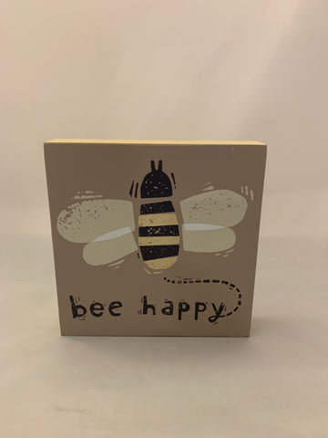 Bee Happy Block Sign