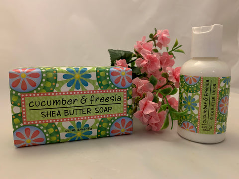 Cucumber and Freesia Shea Butter Soap and Lotion Set