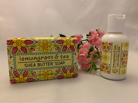 Lemongrass and Tea Shea Butter Soap and Lotion Set