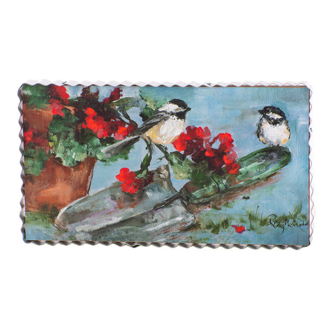 Rozie's Chickadee's and Geraniums Print