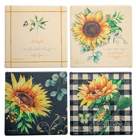 Sunflower Fields Coaster set of 4