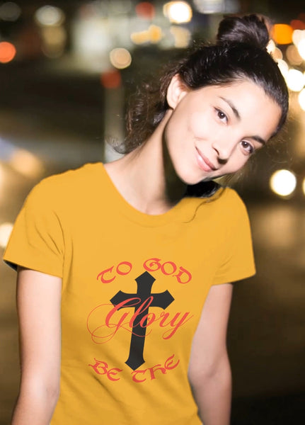 The Christian Wear Women's Daisy Gold T-Shirt - To God Be The Glory, Romans 11:36