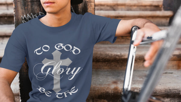 The Christian Wear Men's Navy T-Shirt - To God Be The Glory, Romans 11:36