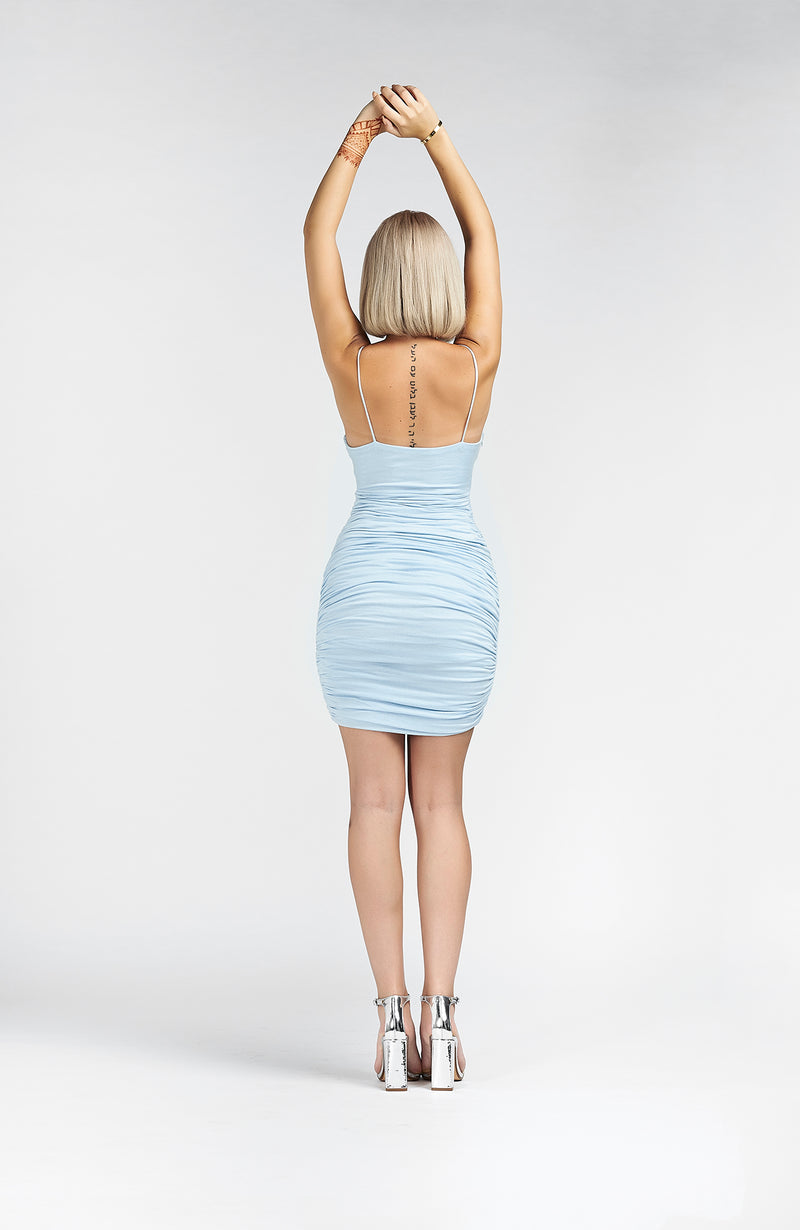 BLUE STRAPPY PLUNGE BODYCON DRESS